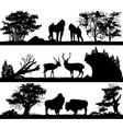 wild animals monkey deer musk ox in different habi vector image vector image