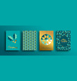 year gold holly pattern card set vector image vector image