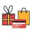 e-commerce buy credit card gift design vector image