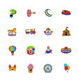 amusement park set icons set cartoon vector image vector image