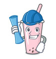 architect raspberry bubble tea character cartoon vector image vector image