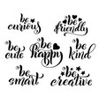 be creative happy friendly and curious hand vector image vector image