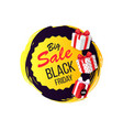 big sale on black friday promo tag gifts icons vector image vector image