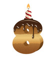 Birthday cake font - number eight vector image vector image