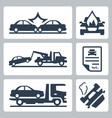 breakdown truck and car accident icons set vector image