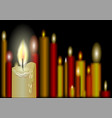burning candles on a black vector image