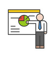 businessman present pie chart on board business vector image vector image
