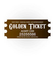 carnival golden ticket for entrance on white vector image