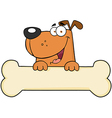 Cartoon Dog Over Bone Banner vector image vector image