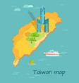 cartoon taiwan map with famous tuntex sky tower vector image vector image