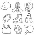 doodle of sport equipment style vector image vector image