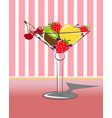 fruit in martini with striped background vector image