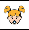 girl baby face with pacifier avatar icon vector image vector image