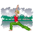 Girl Doing Yoga in a Park vector image vector image