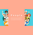 group happy people standing behind empty board vector image vector image