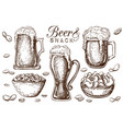 hand drawn beer and snacks collection isolated
