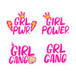 hand drawn lettering girl power feminist slogan vector image