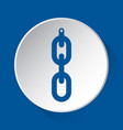 hanging chain with hole - simple blue icon vector image