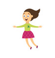 happy cheerful girl character jumping for joy flat vector image vector image