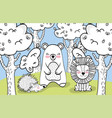 happy wild animals friends with trees vector image vector image