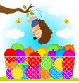 hedgehog jumps in balloons vector image vector image