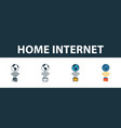 home internet icon set four simple symbols in vector image vector image