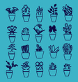 house plants in pots hand-drawing icons vector image