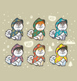 husky puppies set in colorful raincoats cartoon vector image vector image