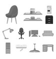 interior of the workplace monochrome icons in set vector image vector image