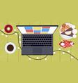 laptop christmas lights coffee and dessert on vector image