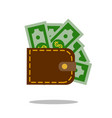 leather wallet purse icon money sign vector image vector image