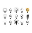 lightbulb icon set light bulb electricity vector image