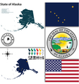 Map of Alaska with seal vector image vector image