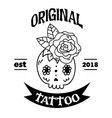 original tattoo ribbon skull flower background vec vector image vector image