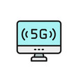 personal computer with 5g internet flat color line vector image vector image