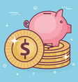 piggy save money with coins vector image