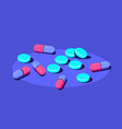 pills and tablets medical drugs on blue vector image vector image