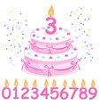 pink birthday cake confetti ribbons and candles vector image vector image