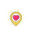 pinpoint with heart dating icon vector image vector image