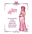 pregnant woman in pink dress vector image vector image