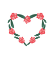 Red Rhododendron Flowers in A Heart Shape vector image vector image
