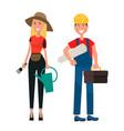 set of gardener woman and builder man flat design vector image