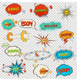 set of multicolored comic sound effects vector image vector image