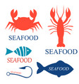 set of seafood logo templates vector image