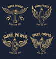 set of vintage motorcycle emblems winged piston vector image vector image