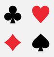 set playing card symbols on white background vector image