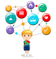 South African boy with science symbols vector image