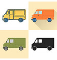 step van food truck icon set in flat and line vector image