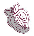 sticker silhouette strawberry fruit icon stock vector image vector image