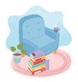 sweet home armchair coffee cup stack books vector image
